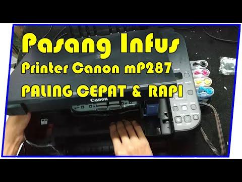 Cara Pasang Infus Printer CANON MP287 + Pembuangan Tinta Hitam.