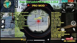 Free Fire Latest Mod Apk 1.25.6, 1 Shot Kill, No Spread, No White Body, High Accuracy