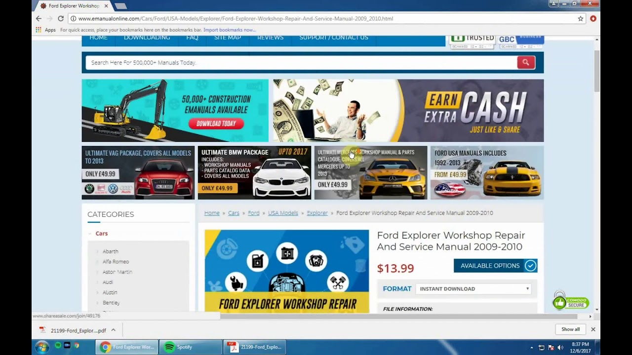 Checkout the large collection of workshop manuals icluding, car repair, service, Haynes manuals etc online. Emanualonline provides descriptive manuals with diagrams and pictures. Download online now!