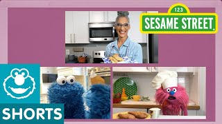Sesame Street: Baked Chicken Tenders & Ranch Dip | Cookie Monster Snack Chat with Carla Hall