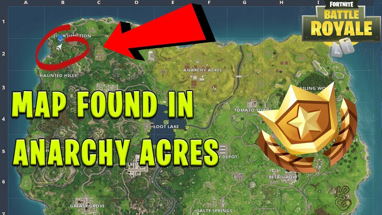 Follow The Treasure Map Found In Anarchy Acres Location Fortnite Week  Challenges