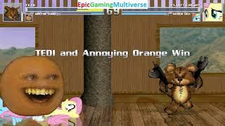 Tedi The Robotic Teddy Bear And Annoying Orange VS Fluttershy And Rainbow Dash In A MUGEN Match