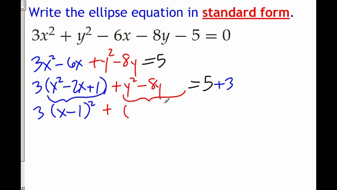 Complete The Square For An Ellipse Equation