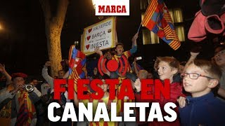 La afición del Barcelona celebra el título en Canaletas, en directo