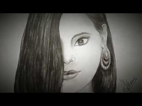 Beautiful girl drawing with graphite pencil : Shome's Art