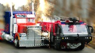 Transformers DOTM Sentinel Prime VS Optimus Prime Truck FireTruck Vehicle Robot Car Toys