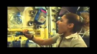 Slow motion drinking water in space