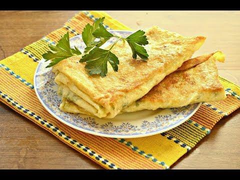 Тонкий лаваш обжаренный с сыром и зеленью