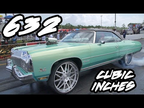 632 CUBIC INCH BIG BLOCK AND NITROUS IN A DONK ON 26 INCH RIMS!!