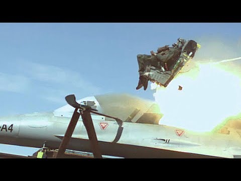 Rocket Sled Ejection Seat Test At USAF Holloman High Speed Test Track