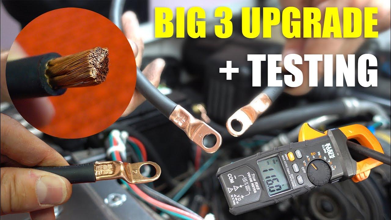 big 3 upgrade with 2 gauge welding wire testing