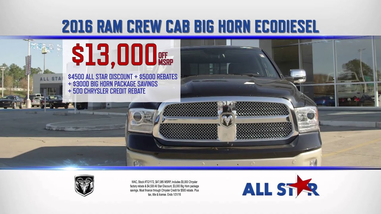 All Star Dodge Chrysler Jeep Ram January Tv Commercial 2016 Crew Cab Horn Ecosel