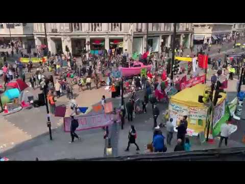 Pressure group Extinction Rebellion closes Oxford Circus, London