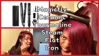 Magicfly Ceramic Tourmaline Steam Flat Iron Hair Straightener Review & Demo