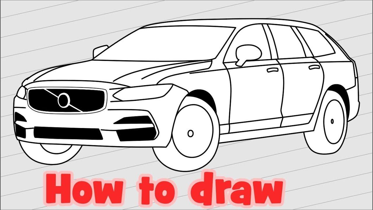 How to draw a car volvo v90 sketch car