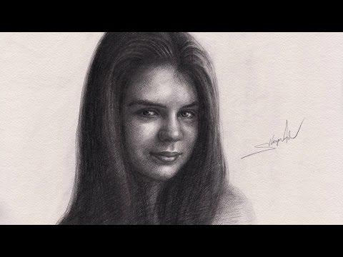 Набросок карандашом - портрет девушки поэтапно - Drawing Portrait Timelapse