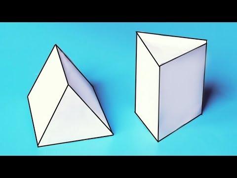 Как сделать объемную ТРЕУГОЛЬНУЮ ПРИЗМУ из бумаги А4? //  Геометрические фигуры своими руками