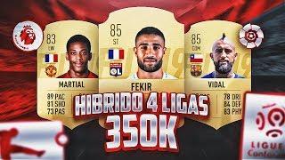 FIFA 19   EL MEJOR EQUIPAZO HIBRIDO DE 4 LIGAS POR 350K !! DELANTERA MUY CHETADA EN FUT CHAMPIONS !!