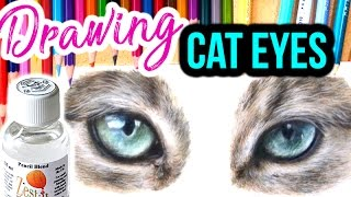 HOW TO DRAW REALISTIC CAT EYES! Step By Step Coloured Pencil Drawing Tutorial