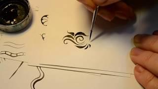 Дизайн ногтей. Линии и мазки, Учимся рисовать, 2 урок-2 часть.