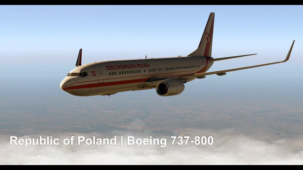 Republic of Poland - Boeign 737-800 - landing at Warsaw Chopin   X-plane 11