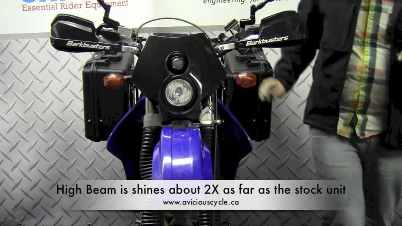 trailtech x2 dot headlight on a suzuki drz400s - youtube