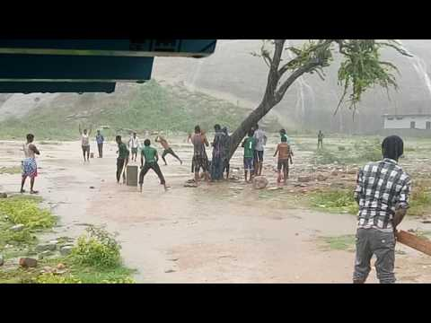 Full rain playing cricket youth