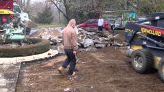 Oakland County Brick Paver Driveway Renovation In Progress (Removal of Existing Concrete)