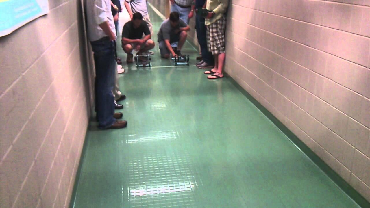 Vex Robotics Cars Race In The Hall Youtube
