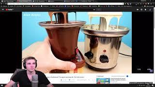 Реакция Диктора на: Фонтан из Фиолетового Шоколада с Клубникой!