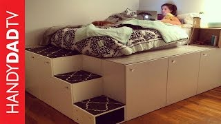 This video shows you how to turn seven standard kitchen cabinets from IKEA into a platform bed with storage underneath. It