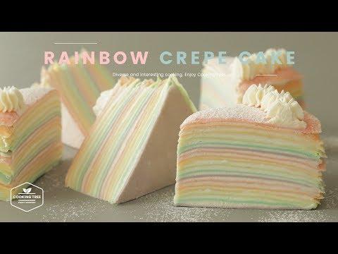 파스텔🍭-레인보우-크레이프-케이크-만들기-:-pastel-rainbow-crepe-cake-recipe-:-パステルレインボークレープケーキ-|-cooking-tree