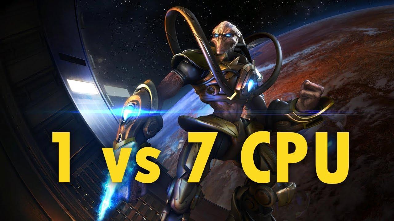 StarCraft: Remastered - 1 Protoss vs 7 Random Computers