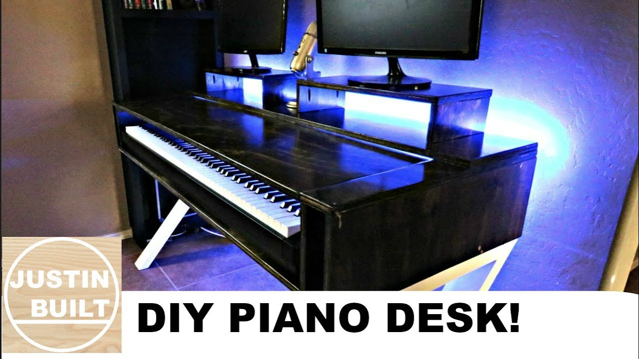 Home Studio Desk With Piano Shelf Youtube