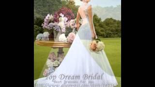Модные Новый стиль зубчатый шеи танк рукавов кружева свадебные платья Novias принцесса
