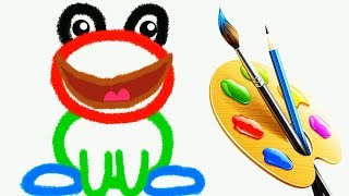 Learning to draw a frog and learn colors with pencils for children