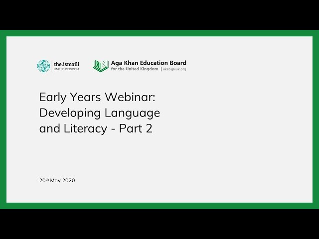 Early Years: Developing Language and Literacy Part 2 - AKEB