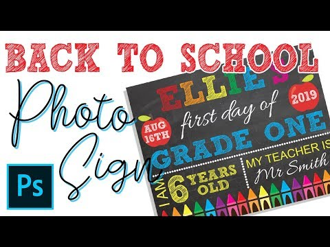 BACK TO SCHOOL 1ST DAY CHALKBOARD SIGN PHOTOPROP HOW TO MAKE IN PHOTOSHOP