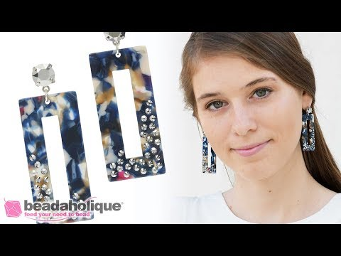 How to Make a Pair of Acetate Earrings featuring Swarovski Crystals
