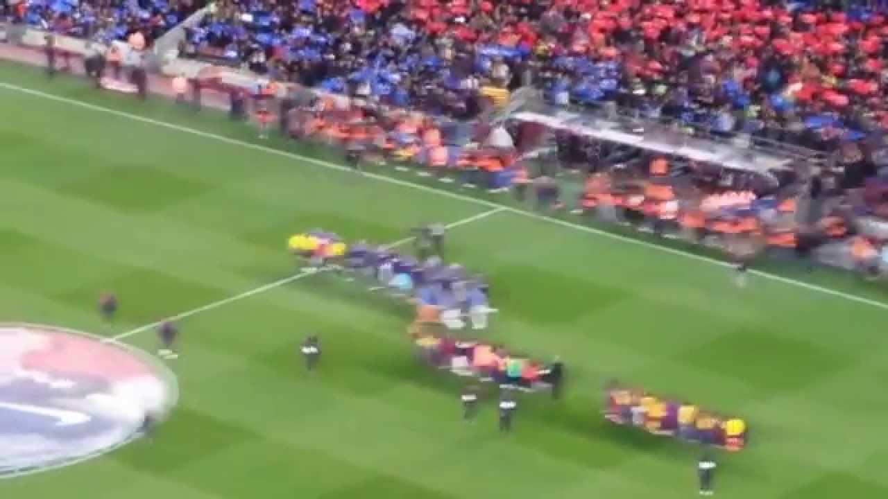 Barcelona-Real Madrid (2-1) 22/03/2015 Ingresso delle squadre in campo