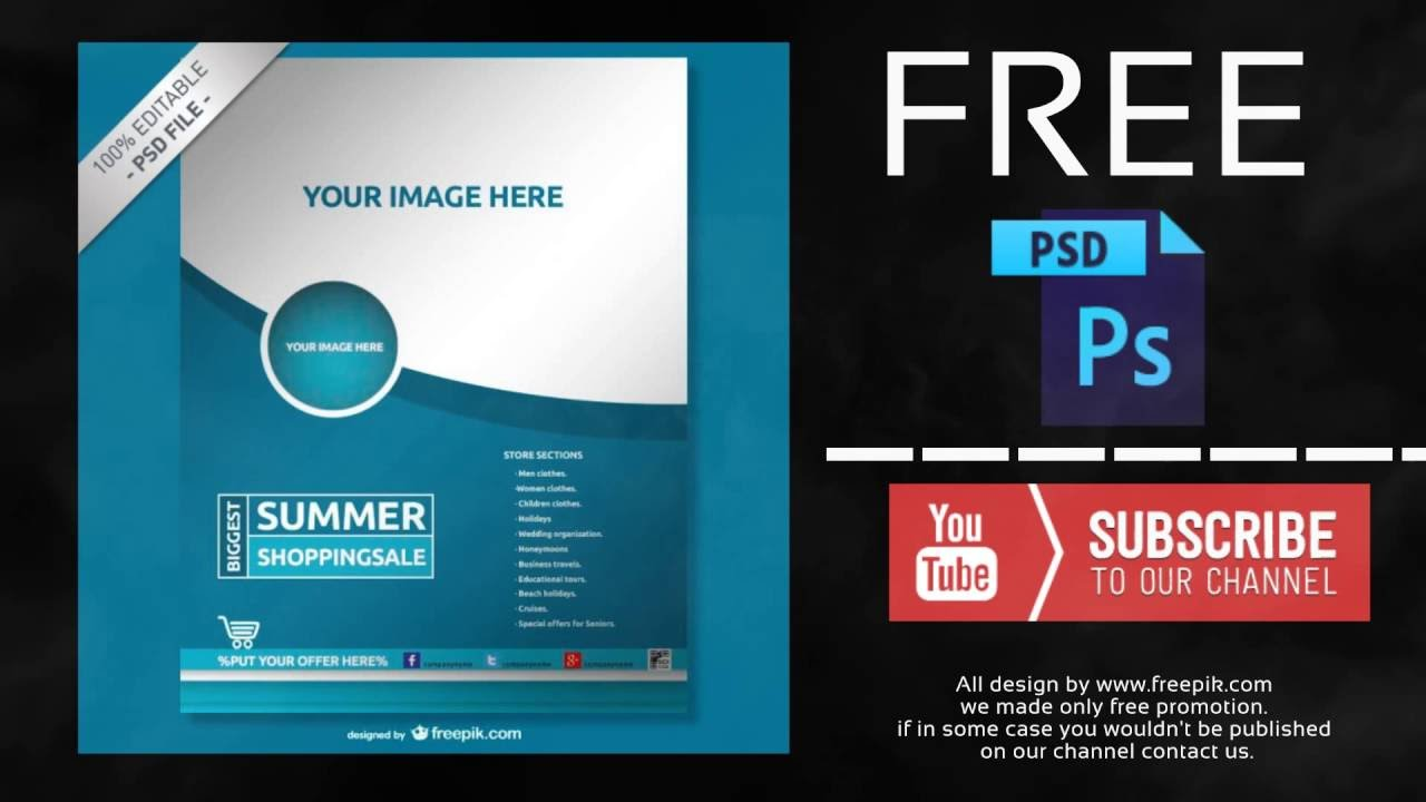 Poster design company - Blue Company Poster Free Photoshop Template