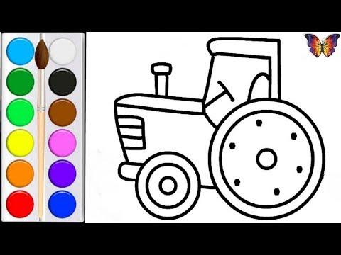 Как нарисовать ТРАКТОР / мультик раскраска СИНИЙ ТРАКТОР  для детей / Раскраски Малышам
