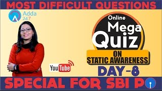 QUIZ CHALLENGE MOST DIFFICULT QUESTIONS ON STATIC FOR SBI PO 2017 DAY 7