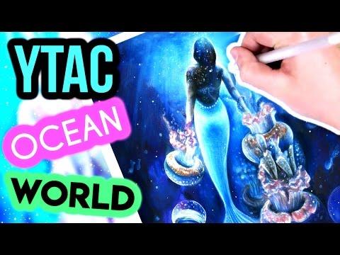 YTAC Ocean World- Mermaid & Jellyfish Promarker and Coloured Pencil Illustration