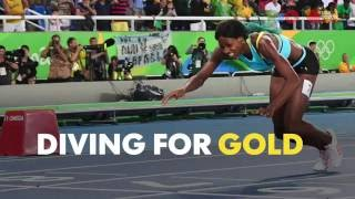 Shaunae Miller dives for a gold medal in women's 400-meter