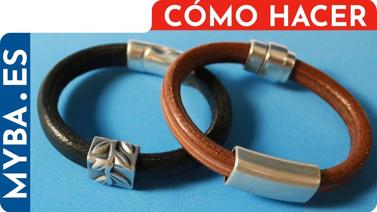 117f9b3c6f59 Cómo hacer pulseras de cuero regaliz con ZAMAK o cerámica. Pulseras de cuero  para hombre y mujer.