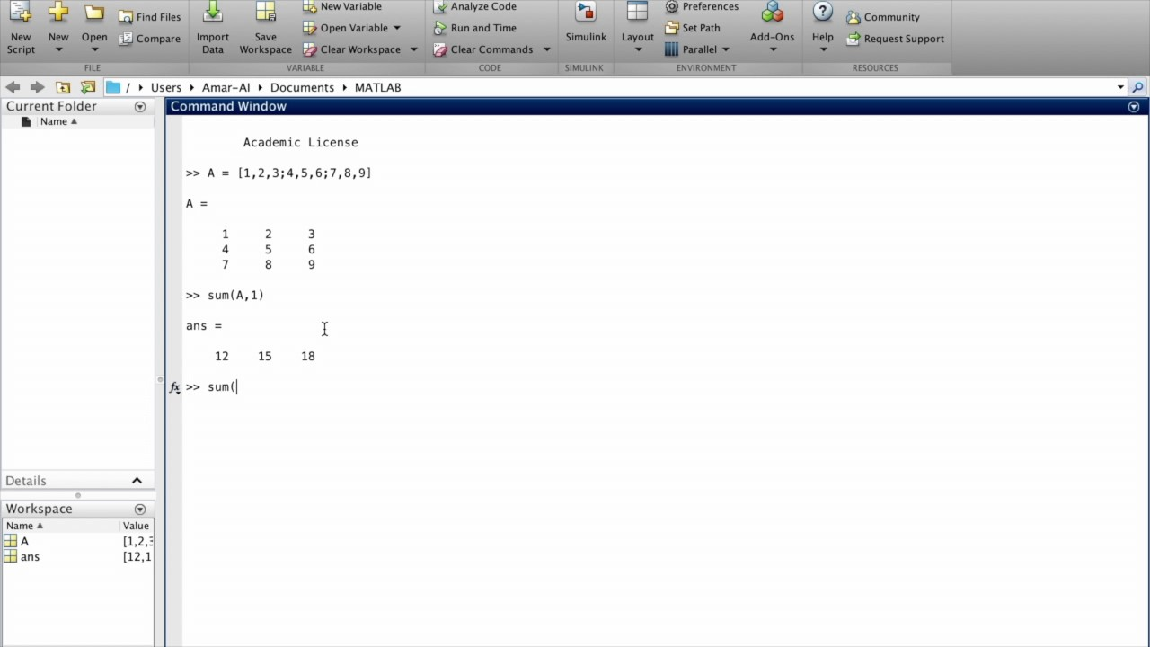 Matlab Tutorial - Finding Sum of Elements Along Rows or Columns using the  sum(A,dim) Function