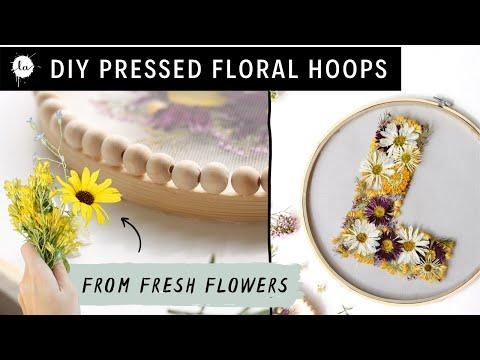 Press Flowers IN 3 MINUTES + DIY Easy Emroidery Hoops - Pressed Flower art