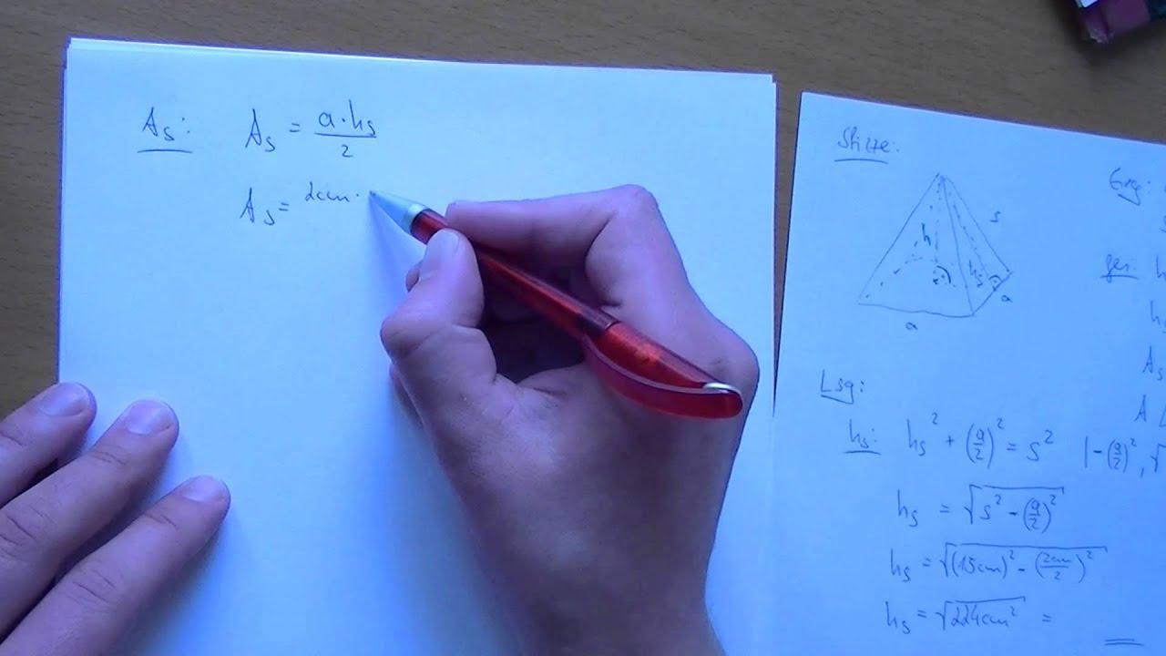 Pythagoras - Pyramide mit quadratischer Grundfläche - YouTube