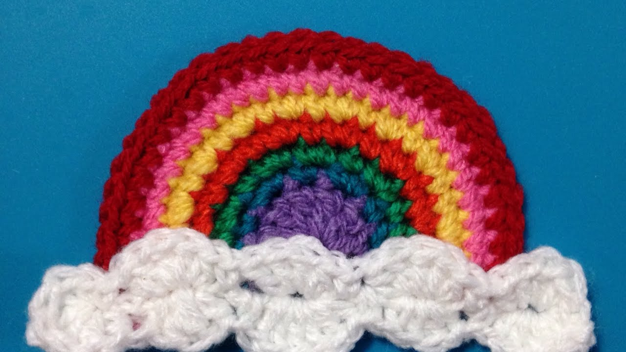 How to crochet a beautiful rainbow applique diy crafts tutorial
